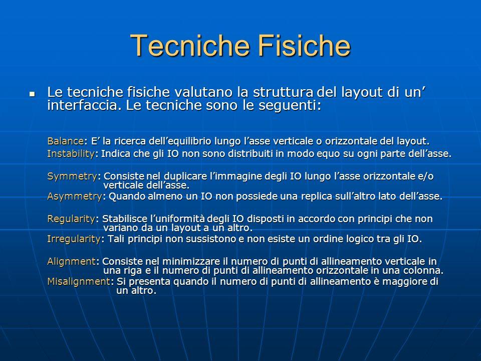 Tecniche Fisiche Le tecniche fisiche valutano la struttura del layout di un' interfaccia.
