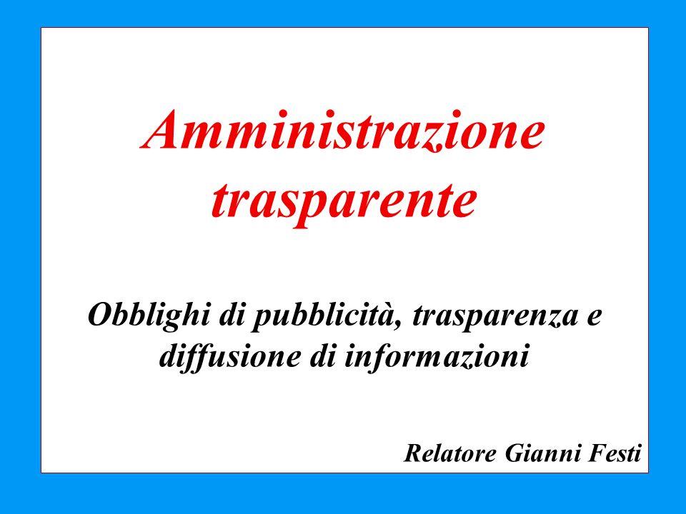 Amministrazione trasparente Obblighi di pubblicità, trasparenza e diffusione di informazioni Relatore Gianni Festi