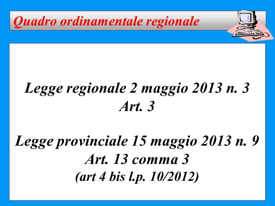 Legge regionale 2 maggio 2013 n. 3 Art. 3 Legge provinciale 15 maggio 2013 n. 9 Art. 13 comma 3 (art 4 bis l.p. 10/2012) Quadro ordinamentale regional