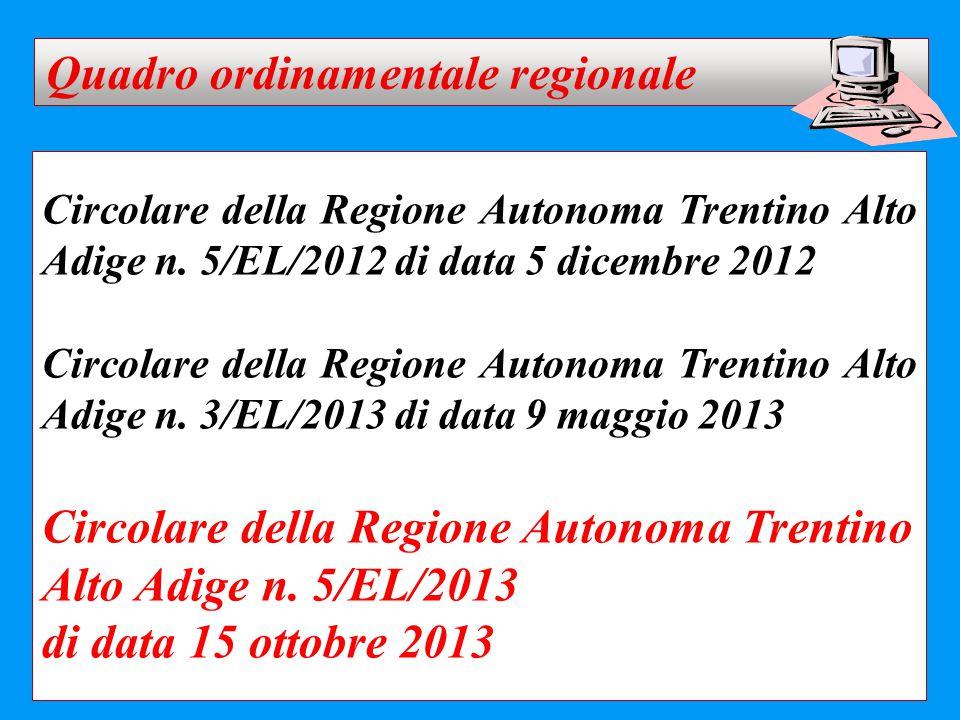 Circolare della Regione Autonoma Trentino Alto Adige n. 5/EL/2012 di data 5 dicembre 2012 Circolare della Regione Autonoma Trentino Alto Adige n. 3/EL