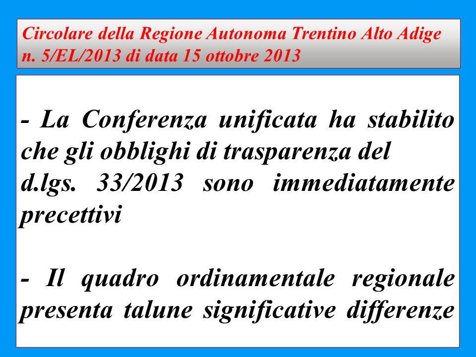- La Conferenza unificata ha stabilito che gli obblighi di trasparenza del d.lgs. 33/2013 sono immediatamente precettivi - Il quadro ordinamentale reg