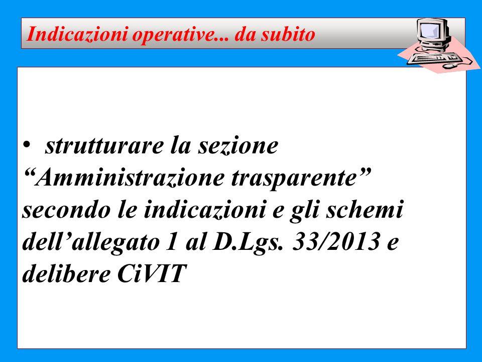 """strutturare la sezione """"Amministrazione trasparente"""" secondo le indicazioni e gli schemi dell'allegato 1 al D.Lgs. 33/2013 e delibere CiVIT Indicazion"""