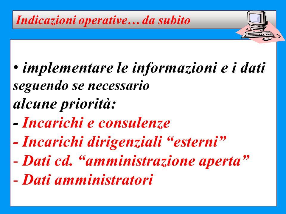 """implementare le informazioni e i dati seguendo se necessario alcune priorità: - Incarichi e consulenze - Incarichi dirigenziali """"esterni"""" - Dati cd. """""""