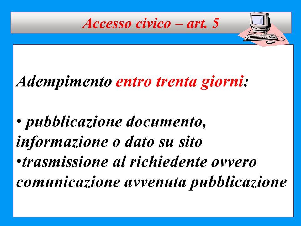 Adempimento entro trenta giorni: pubblicazione documento, informazione o dato su sito trasmissione al richiedente ovvero comunicazione avvenuta pubbli