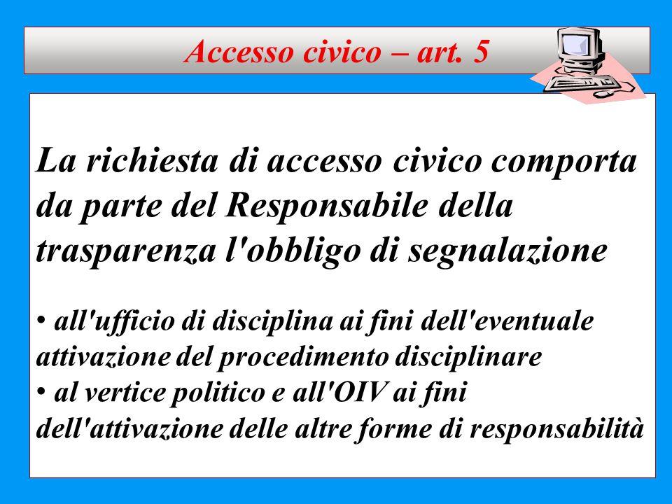 La richiesta di accesso civico comporta da parte del Responsabile della trasparenza l'obbligo di segnalazione all'ufficio di disciplina ai fini dell'e