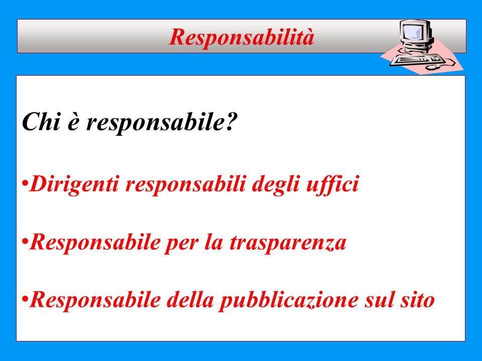 Chi è responsabile? Dirigenti responsabili degli uffici Responsabile per la trasparenza Responsabile della pubblicazione sul sito Responsabilità