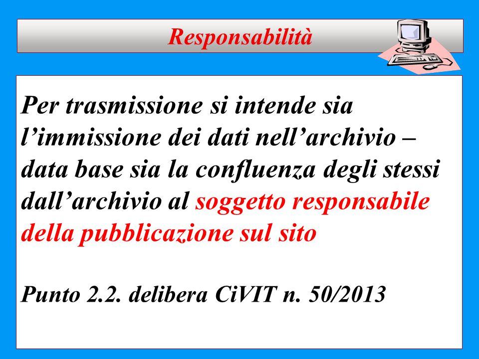 Per trasmissione si intende sia l'immissione dei dati nell'archivio – data base sia la confluenza degli stessi dall'archivio al soggetto responsabile