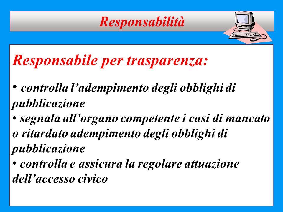 Responsabile per trasparenza: controlla l'adempimento degli obblighi di pubblicazione segnala all'organo competente i casi di mancato o ritardato adem