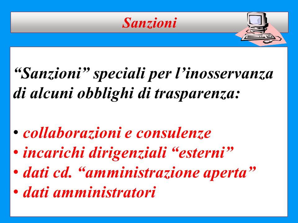 """""""Sanzioni"""" speciali per l'inosservanza di alcuni obblighi di trasparenza: collaborazioni e consulenze incarichi dirigenziali """"esterni"""" dati cd. """"ammin"""