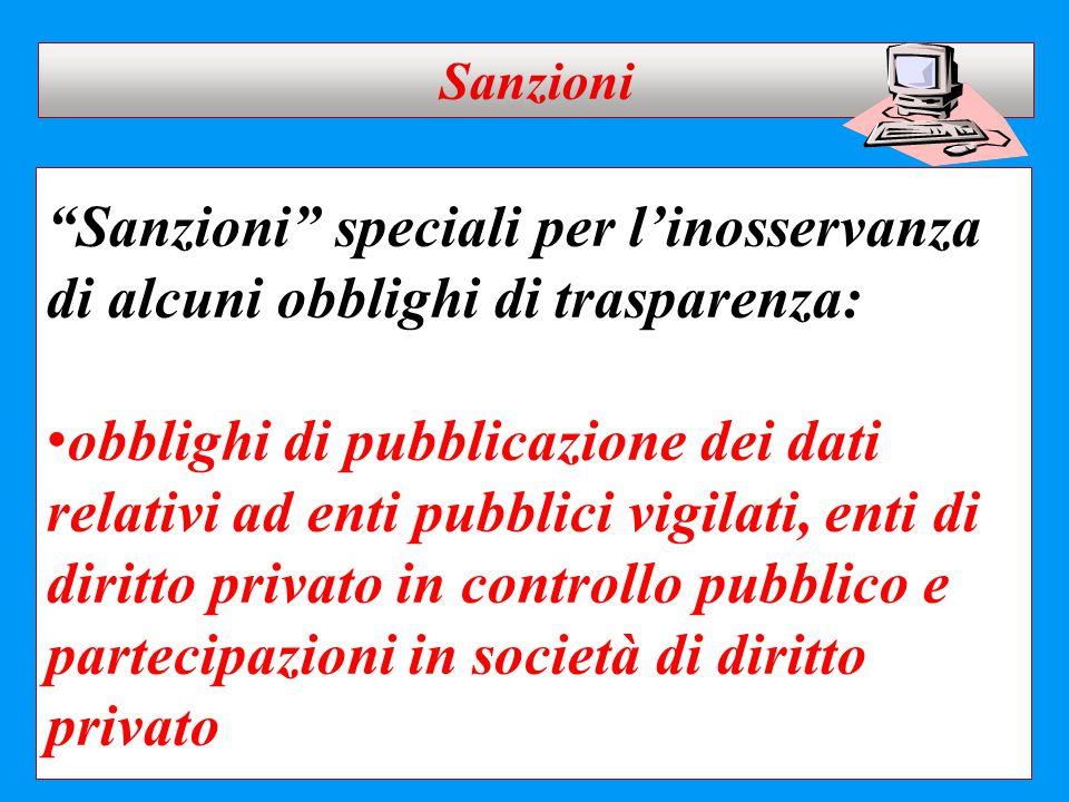 """""""Sanzioni"""" speciali per l'inosservanza di alcuni obblighi di trasparenza: obblighi di pubblicazione dei dati relativi ad enti pubblici vigilati, enti"""