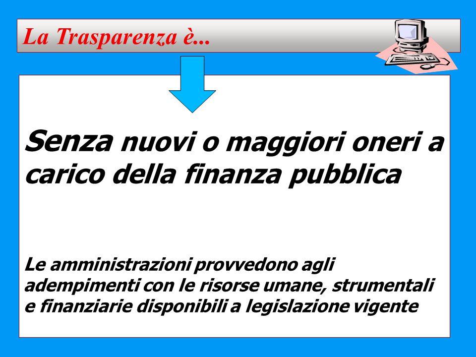 Senza nuovi o maggiori oneri a carico della finanza pubblica L e amministrazioni provvedono agli adempimenti con le risorse umane, strumentali e finan