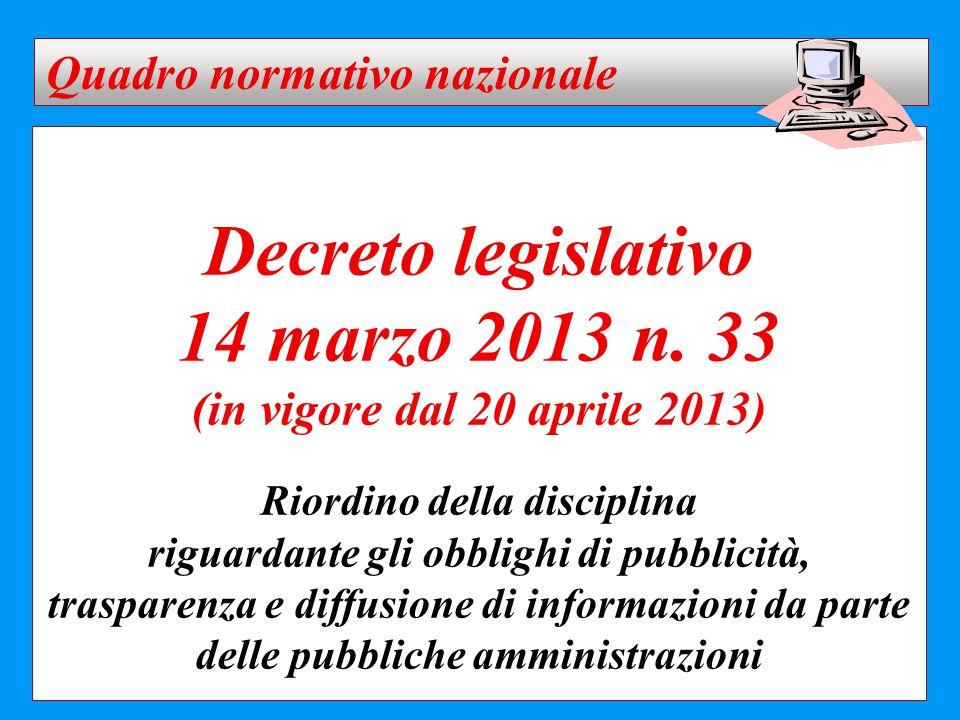 Decreto legislativo 14 marzo 2013 n. 33 (in vigore dal 20 aprile 2013) Riordino della disciplina riguardante gli obblighi di pubblicità, trasparenza e