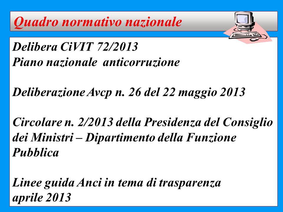Delibera CiVIT 72/2013 Piano nazionale anticorruzione Deliberazione Avcp n. 26 del 22 maggio 2013 Circolare n. 2/2013 della Presidenza del Consiglio d