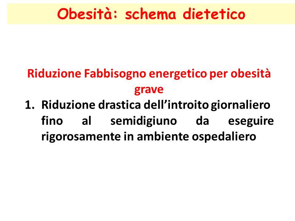 Obesità: schema dietetico Riduzione Fabbisogno energetico per obesità grave 1.Riduzione drastica dell'introito giornaliero fino al semidigiuno da eseg