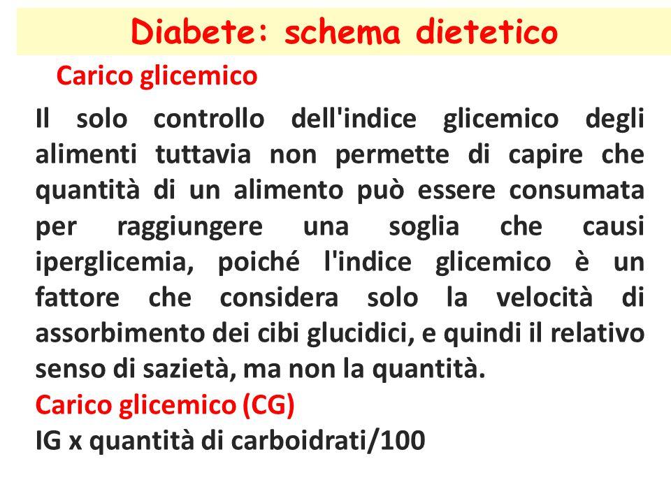 Diabete: schema dietetico Carico glicemico Il solo controllo dell'indice glicemico degli alimenti tuttavia non permette di capire che quantità di un a
