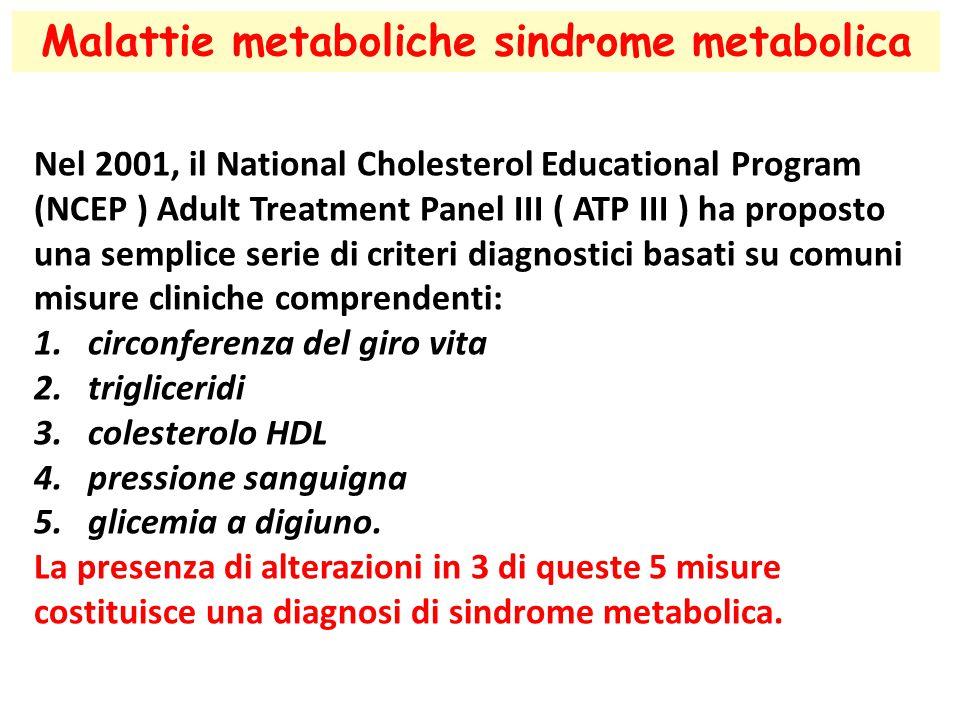 Malattie metaboliche sindrome metabolica Nel 2001, il National Cholesterol Educational Program (NCEP ) Adult Treatment Panel III ( ATP III ) ha proposto una semplice serie di criteri diagnostici basati su comuni misure cliniche comprendenti: 1.circonferenza del giro vita 2.trigliceridi 3.colesterolo HDL 4.pressione sanguigna 5.glicemia a digiuno.