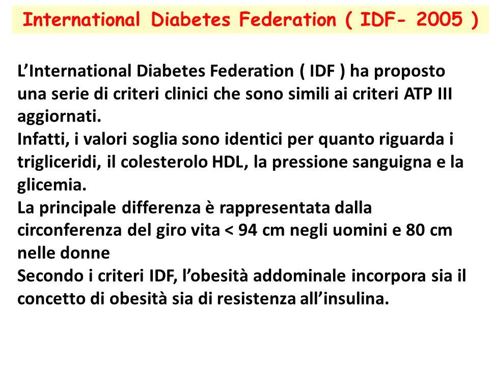 International Diabetes Federation ( IDF- 2005 ) L'International Diabetes Federation ( IDF ) ha proposto una serie di criteri clinici che sono simili a