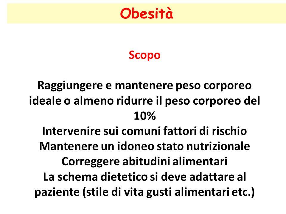 Obesità Scopo Raggiungere e mantenere peso corporeo ideale o almeno ridurre il peso corporeo del 10% Intervenire sui comuni fattori di rischio Mantene