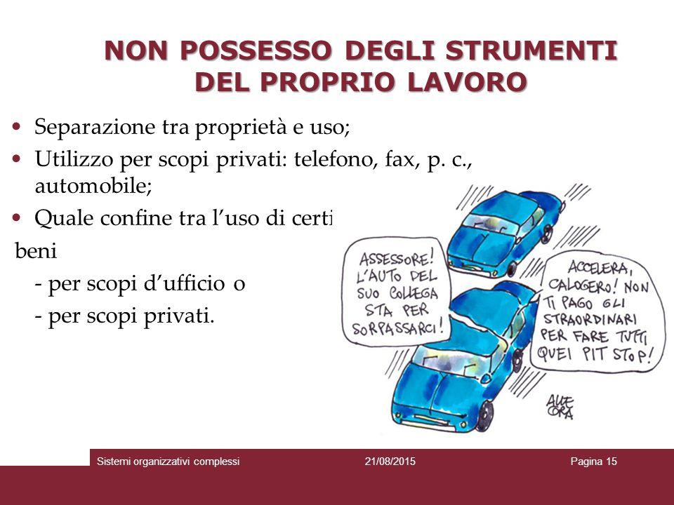 NON POSSESSO DEGLI STRUMENTI DEL PROPRIO LAVORO Separazione tra proprietà e uso; Utilizzo per scopi privati: telefono, fax, p.