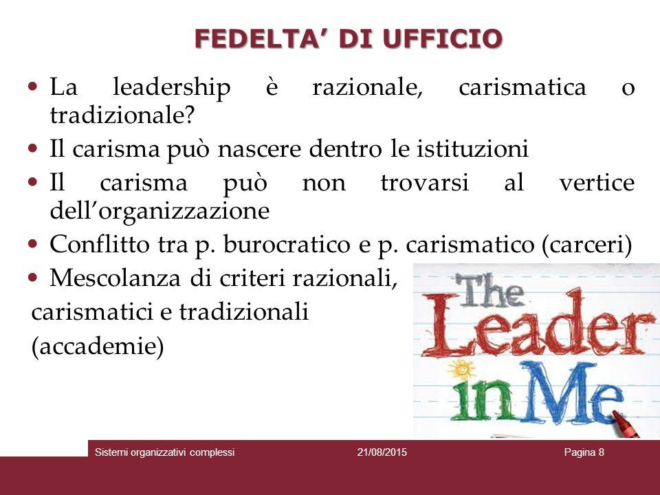FEDELTA' DI UFFICIO La leadership è razionale, carismatica o tradizionale.