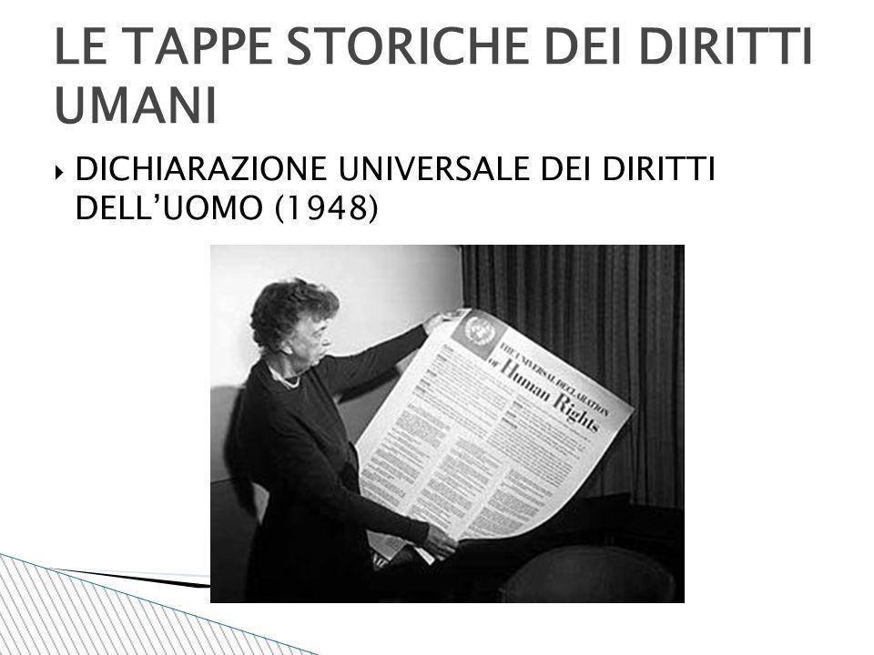  DICHIARAZIONE UNIVERSALE DEI DIRITTI DELL'UOMO (1948) LE TAPPE STORICHE DEI DIRITTI UMANI