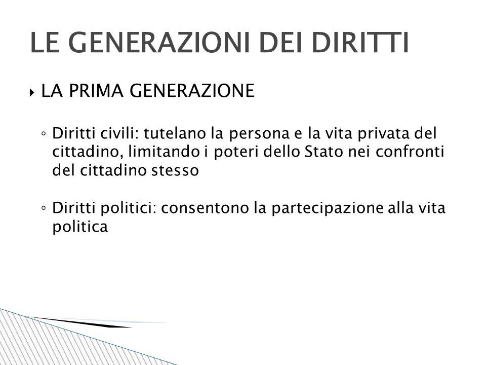  LA PRIMA GENERAZIONE ◦ Diritti civili: tutelano la persona e la vita privata del cittadino, limitando i poteri dello Stato nei confronti del cittadi