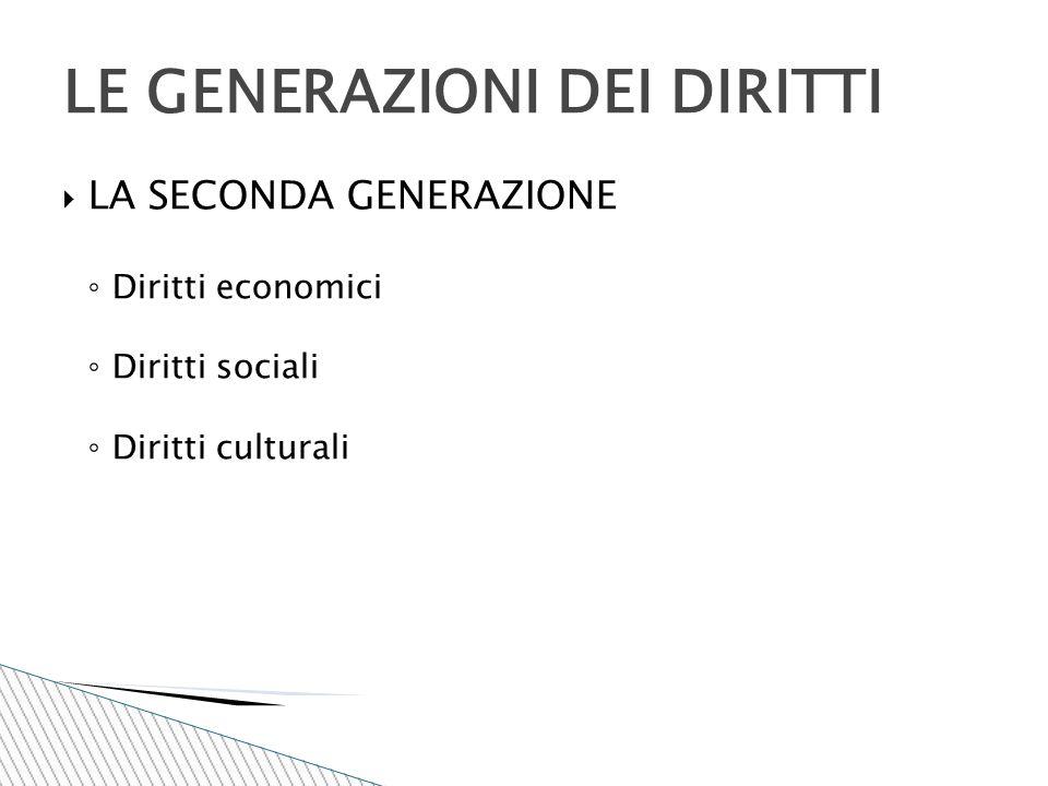 LA SECONDA GENERAZIONE ◦ Diritti economici ◦ Diritti sociali ◦ Diritti culturali LE GENERAZIONI DEI DIRITTI