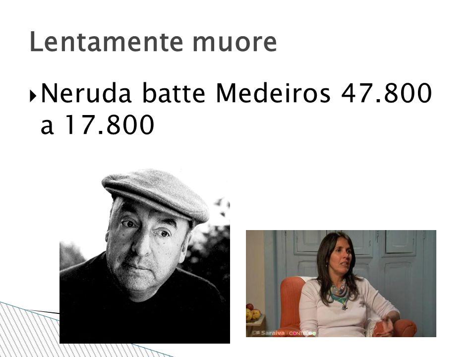  Neruda batte Medeiros 47.800 a 17.800 Lentamente muore