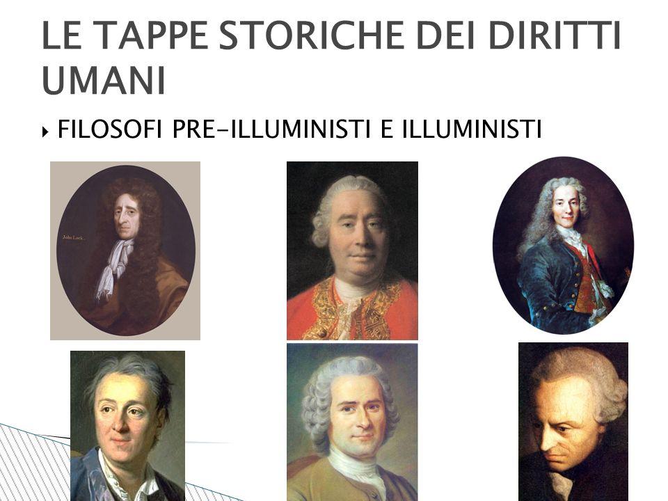  FILOSOFI PRE-ILLUMINISTI E ILLUMINISTI LE TAPPE STORICHE DEI DIRITTI UMANI
