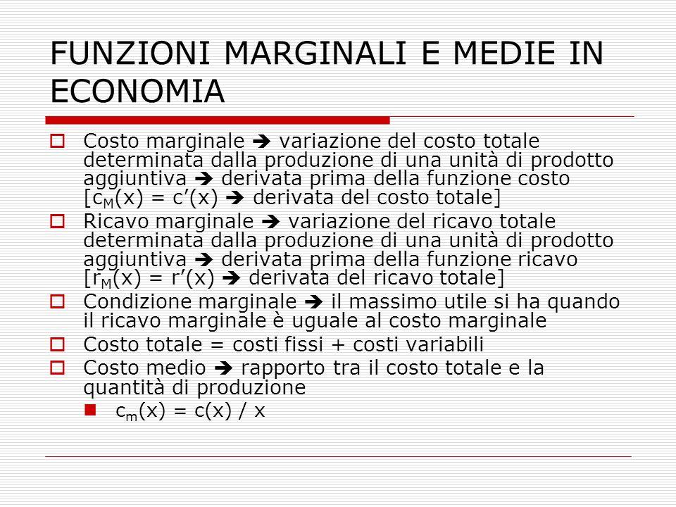 FUNZIONI MARGINALI E MEDIE IN ECONOMIA  Costo marginale  variazione del costo totale determinata dalla produzione di una unità di prodotto aggiuntiv