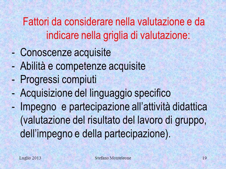 Luglio 2013Stefano Monteleone18 GRIGLIA DI VALUTAZIONE (secondo le indicazioni del POF, del collegio docenti e del consiglio di materia). La griglia d