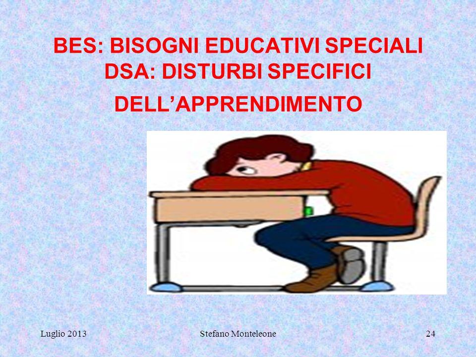 Luglio 2013Stefano Monteleone23 ATTIVITA' DI RECUPERO RECUPERO IN ITINERE CON ASSEGNAZIONE DI COMPITI INDIVIDUALI DIFFERENZIATI, IN BASE ALLE LACUNE E