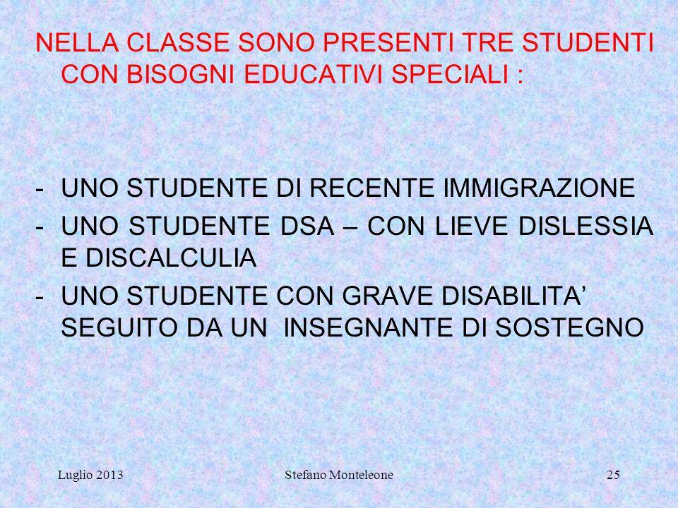 Luglio 2013Stefano Monteleone24 BES: BISOGNI EDUCATIVI SPECIALI DSA: DISTURBI SPECIFICI DELL'APPRENDIMENTO