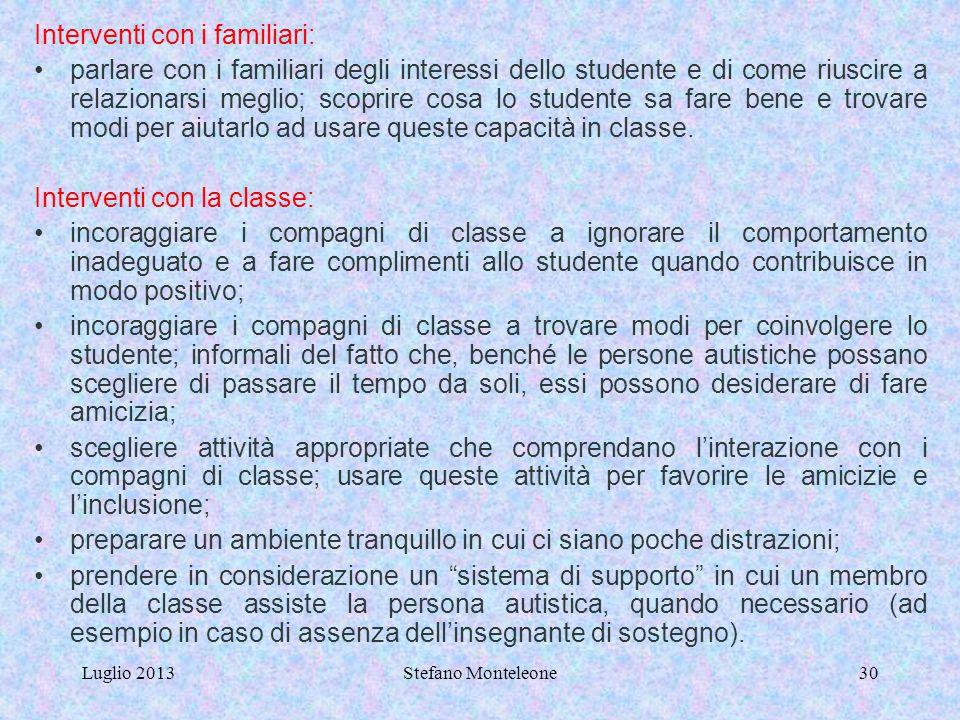 Luglio 2013Stefano Monteleone29 STUDENTE CON GRAVE DISABILITA' - GRAVE FORMA DI AUTISMO Considerare i seguenti documenti: - DIAGNOSI FUNZIONALE (ASL)