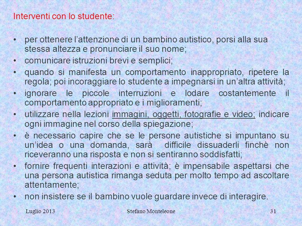 Luglio 2013Stefano Monteleone30 Interventi con i familiari: parlare con i familiari degli interessi dello studente e di come riuscire a relazionarsi m