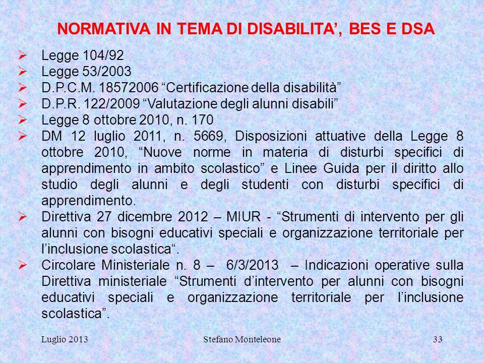 Luglio 2013Stefano Monteleone32 In base a quanto previsto dal PEI, e coordinandosi con l'insegnante di sostegno, permettere l'utilizzo di strumenti co