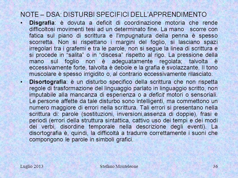 """Luglio 2013Stefano Monteleone35 NOTE Conoscenze"""": indicano il risultato dell'assimilazione di informazioni attraverso l'apprendimento. Le conoscenze s"""