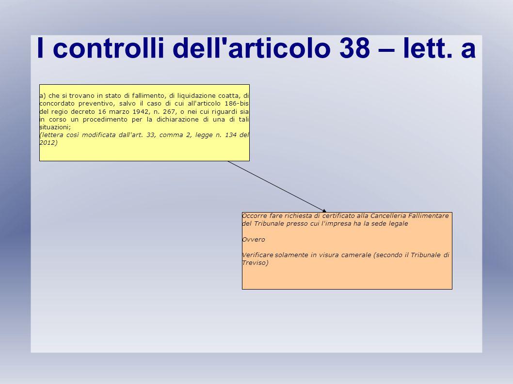 I controlli dell'articolo 38 – lett. a a) che si trovano in stato di fallimento, di liquidazione coatta, di concordato preventivo, salvo il caso di cu