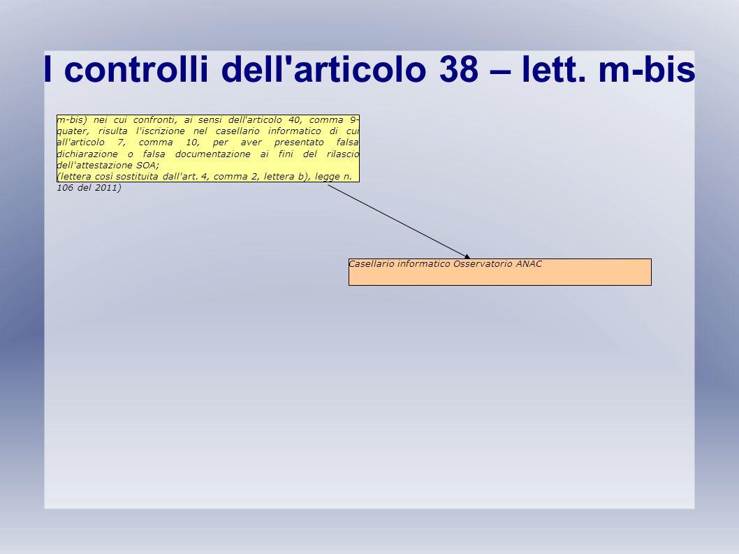 I controlli dell'articolo 38 – lett. m-bis m-bis) nei cui confronti, ai sensi dell'articolo 40, comma 9- quater, risulta l'iscrizione nel casellario i