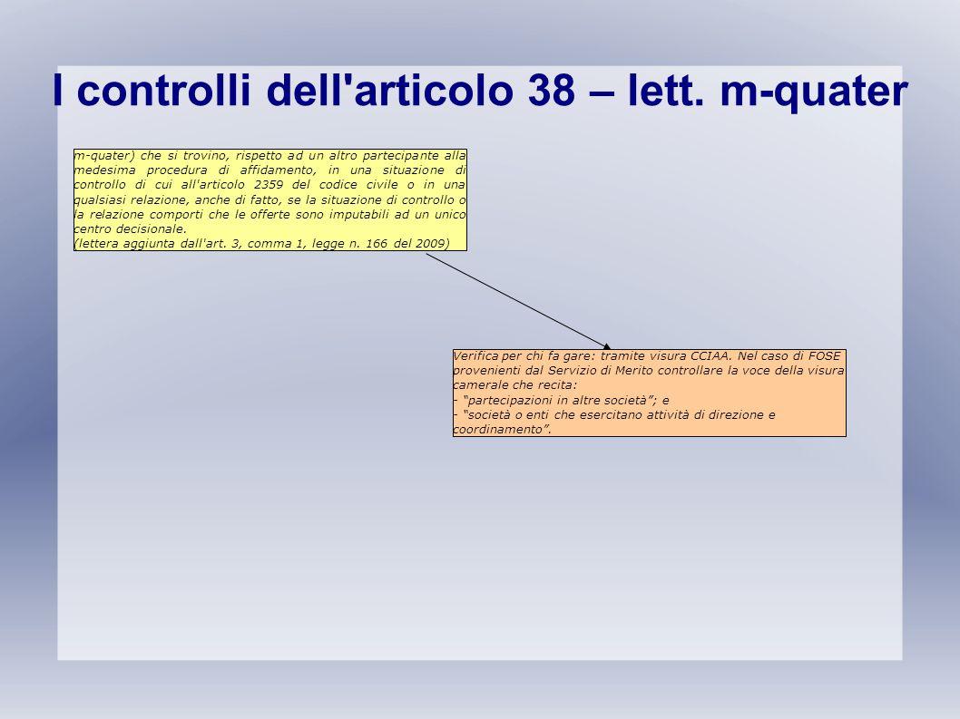 I controlli dell'articolo 38 – lett. m-quater m-quater) che si trovino, rispetto ad un altro partecipante alla medesima procedura di affidamento, in u