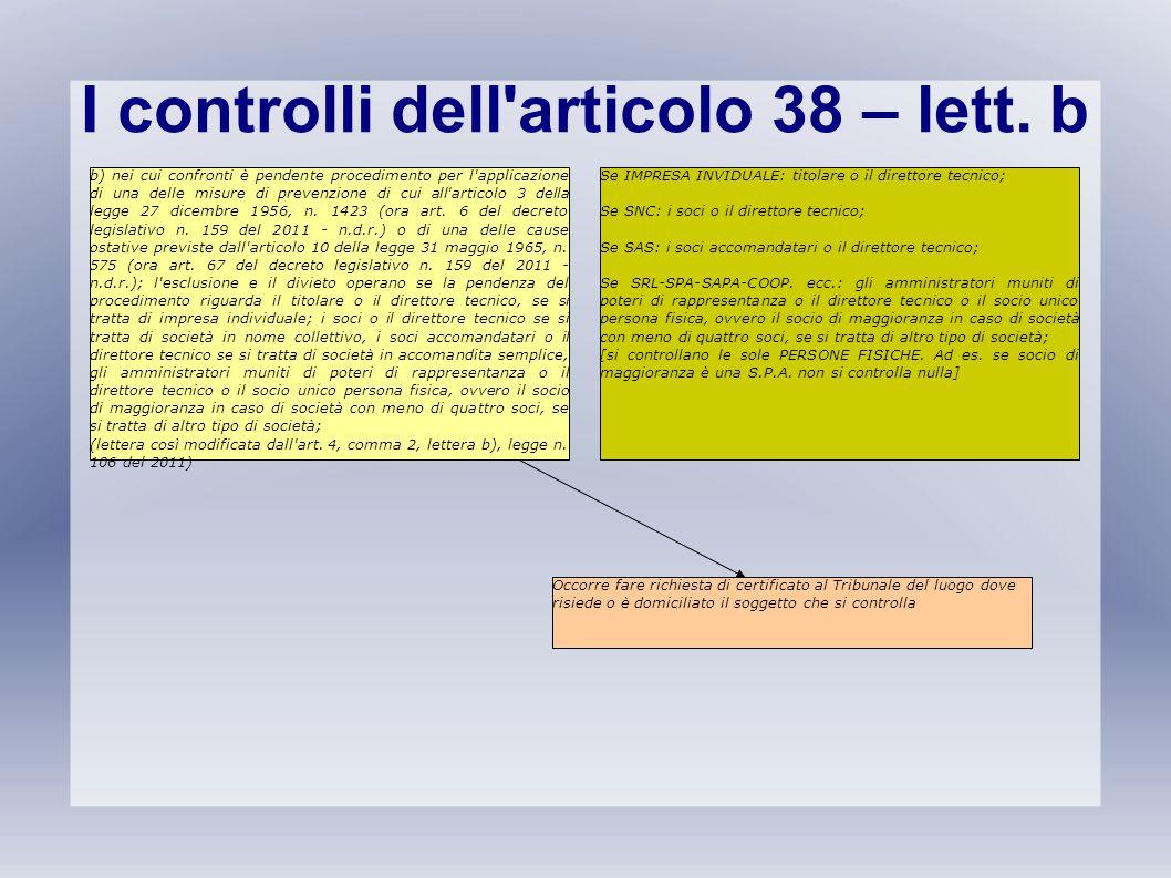 I controlli dell'articolo 38 – lett. b b) nei cui confronti è pendente procedimento per l'applicazione di una delle misure di prevenzione di cui all'a