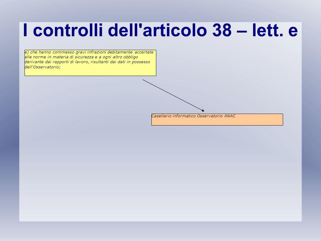 I controlli dell'articolo 38 – lett. e e) che hanno commesso gravi infrazioni debitamente accertate alle norme in materia di sicurezza e a ogni altro