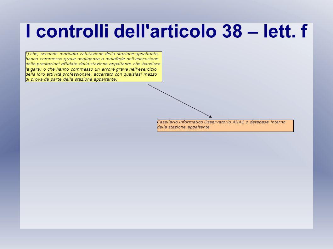 I controlli dell'articolo 38 – lett. f f) che, secondo motivata valutazione della stazione appaltante, hanno commesso grave negligenza o malafede nell