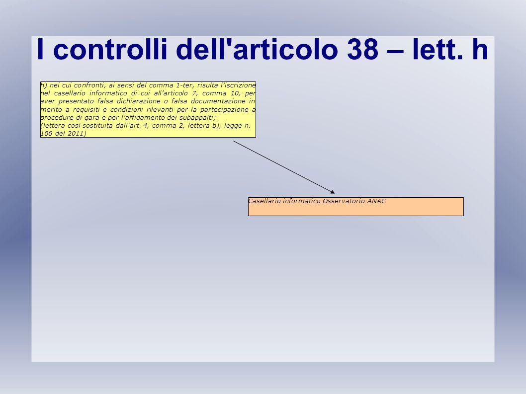 I controlli dell'articolo 38 – lett. h h) nei cui confronti, ai sensi del comma 1-ter, risulta l'iscrizione nel casellario informatico di cui all'arti