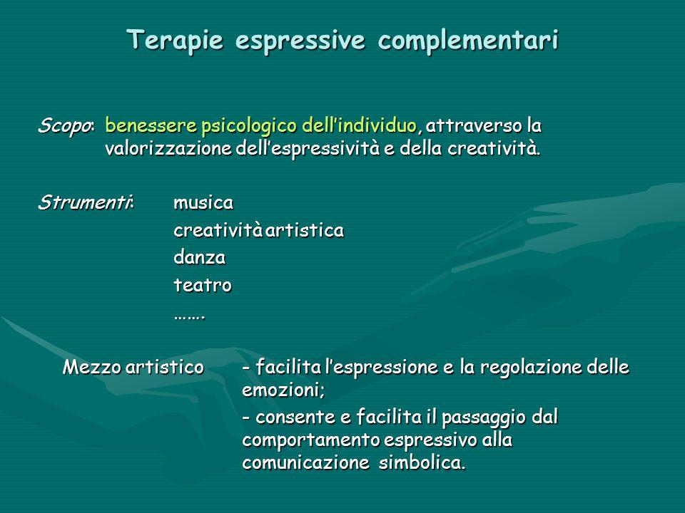 Terapie espressive complementari Scopo: benessere psicologico dell'individuo, attraverso la valorizzazione dell'espressività e della creatività. Strum