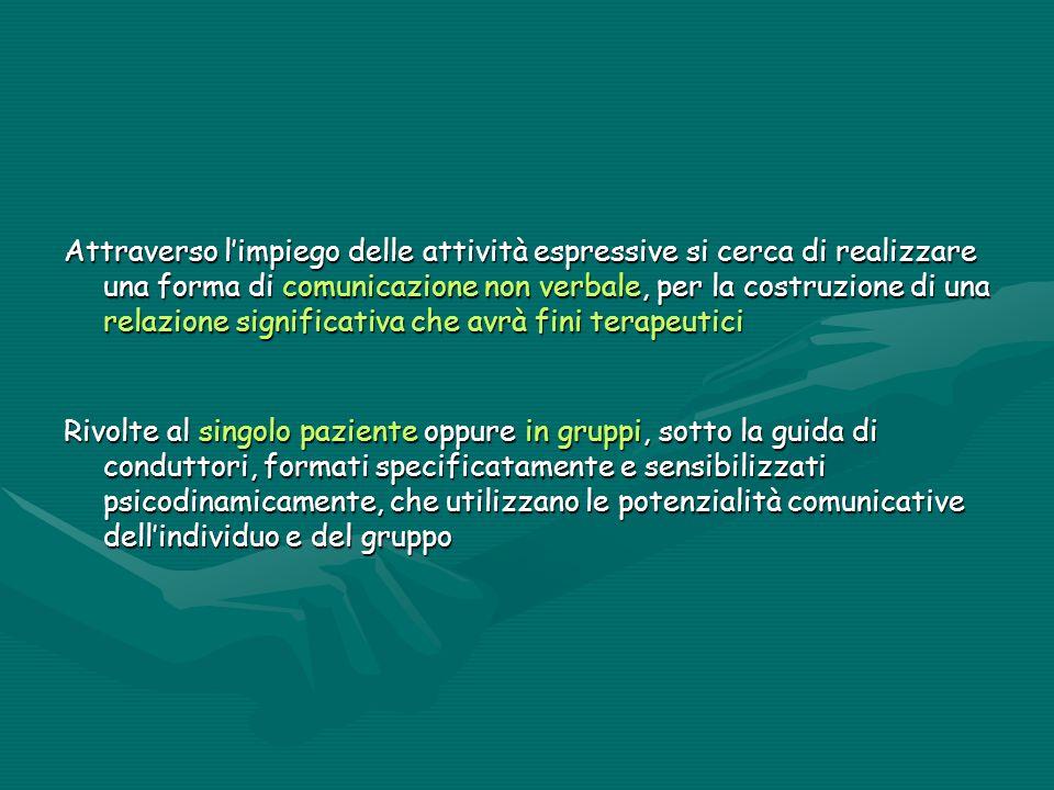 Attraverso l'impiego delle attività espressive si cerca di realizzare una forma di comunicazione non verbale, per la costruzione di una relazione sign