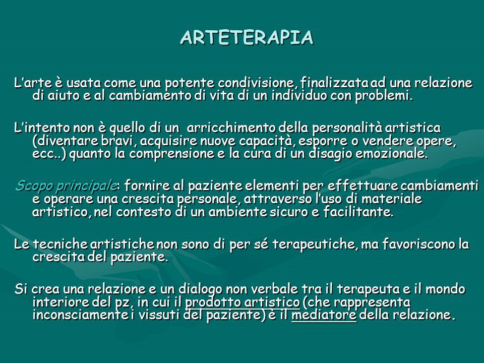ARTETERAPIA L'arte è usata come una potente condivisione, finalizzata ad una relazione di aiuto e al cambiamento di vita di un individuo con problemi.