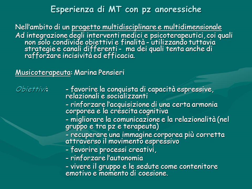 Esperienza di MT con pz anoressiche Nell'ambito di un progetto multidisciplinare e multidimensionale Ad integrazione degli interventi medici e psicote