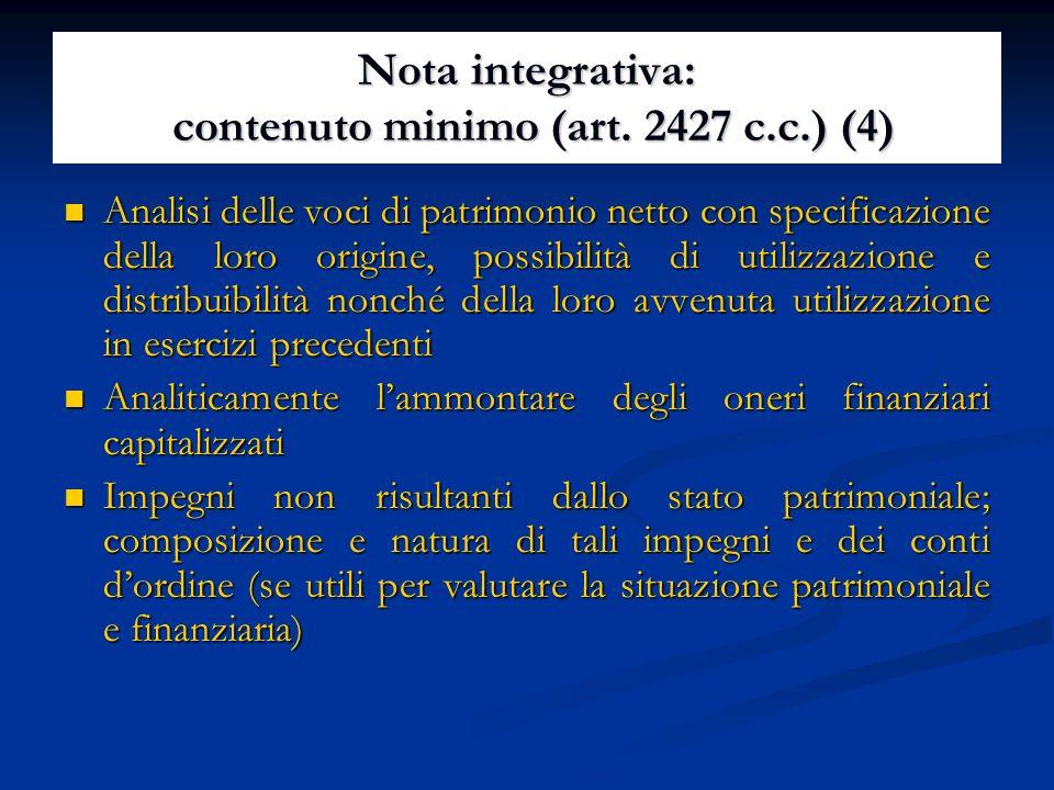 Nota integrativa: contenuto minimo (art.
