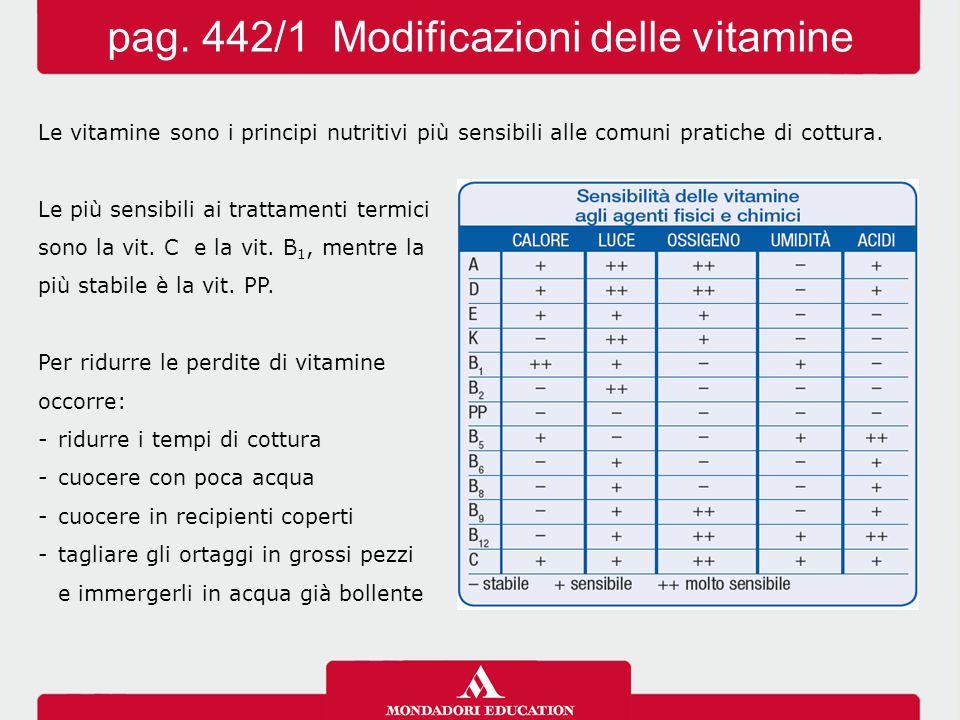 Le vitamine sono i principi nutritivi più sensibili alle comuni pratiche di cottura. Le più sensibili ai trattamenti termici sono la vit. C e la vit.